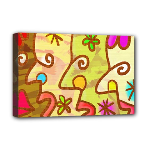 Abstract Faces Abstract Spiral Deluxe Canvas 18  X 12   by Amaryn4rt