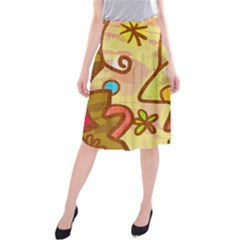 Abstract Faces Abstract Spiral Midi Beach Skirt by Amaryn4rt