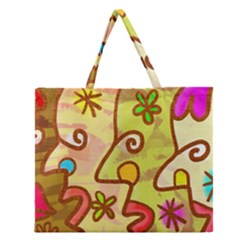 Abstract Faces Abstract Spiral Zipper Large Tote Bag by Amaryn4rt