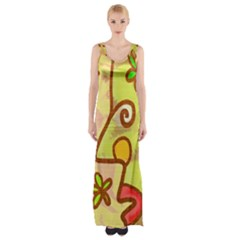 Abstract Faces Abstract Spiral Maxi Thigh Split Dress by Amaryn4rt