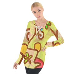 Abstract Faces Abstract Spiral Women s Tie Up Tee by Amaryn4rt