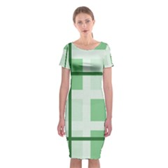 Abstract Green Squares Background Classic Short Sleeve Midi Dress by Amaryn4rt