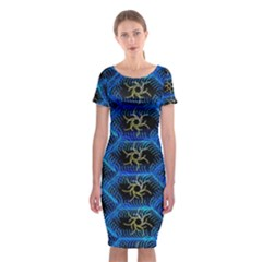 Blue Bee Hive Classic Short Sleeve Midi Dress by Amaryn4rt