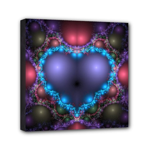 Blue Heart Mini Canvas 6  X 6  by Amaryn4rt