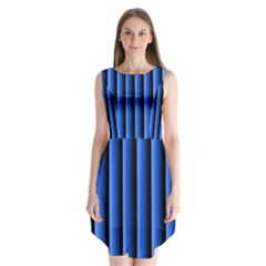 Blue Lines Background Sleeveless Chiffon Dress