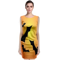 Bats Orange Halloween Illustration Clipart Classic Sleeveless Midi Dress