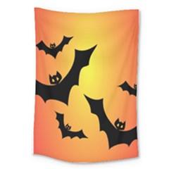 Bats Orange Halloween Illustration Clipart Large Tapestry by Jojostore