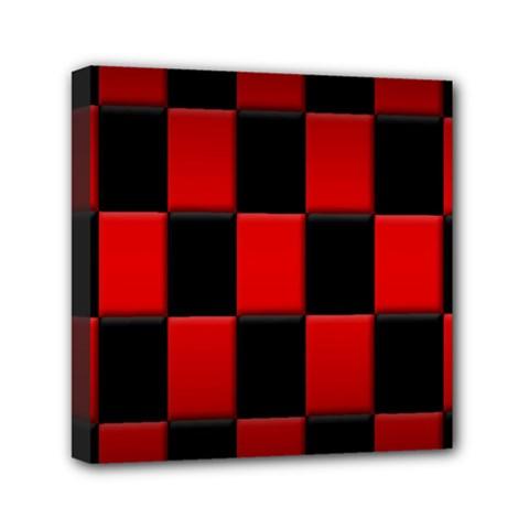 Board Red Black Mini Canvas 6  X 6  by Jojostore