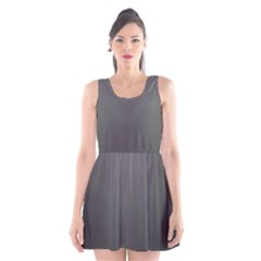 Gray Color Scoop Neck Skater Dress by Jojostore