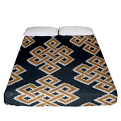 Geometric Cut Velvet Drapery Upholstery Fabric Fitted Sheet (california King Size) by Jojostore
