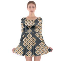 Geometric Cut Velvet Drapery Upholstery Fabric Long Sleeve Skater Dress by Jojostore