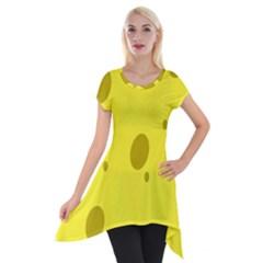 Hole Cheese Yellow Short Sleeve Side Drop Tunic
