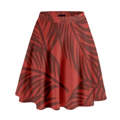 Red Palm High Waist Skirt by Jojostore