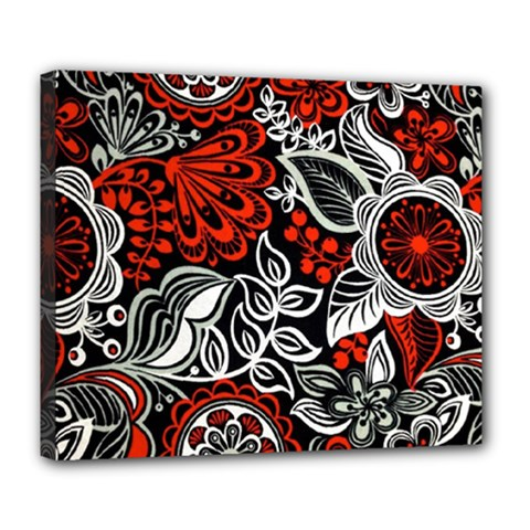 Red Batik Flower Deluxe Canvas 24  X 20   by Jojostore