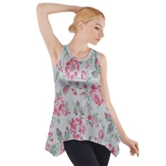 Rose Red Flower Side Drop Tank Tunic by Jojostore