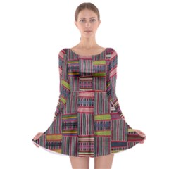 Strip Woven Cloth Color Long Sleeve Skater Dress by Jojostore