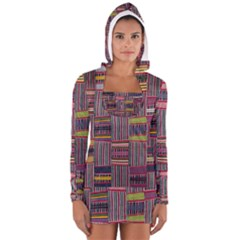 Strip Woven Cloth Color Women s Long Sleeve Hooded T-shirt by Jojostore