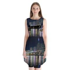 Cleveland Building City By Night Sleeveless Chiffon Dress   by Amaryn4rt