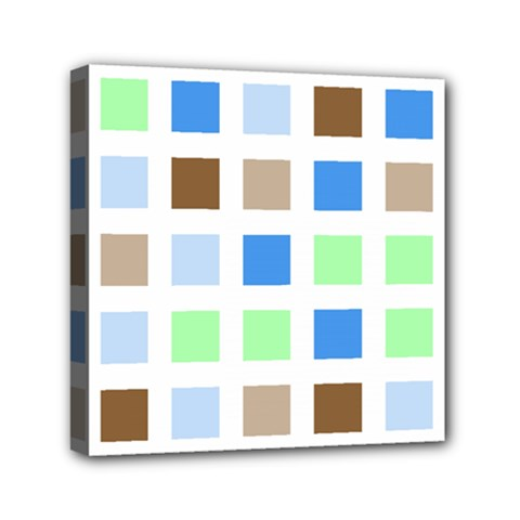 Colorful Green Background Tile Pattern Mini Canvas 6  X 6  by Amaryn4rt