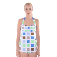 Colorful Green Background Tile Pattern Boyleg Halter Swimsuit  by Amaryn4rt