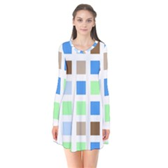 Colorful Green Background Tile Pattern Flare Dress