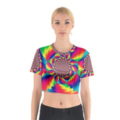 Colorful Psychedelic Art Background Cotton Crop Top by Amaryn4rt
