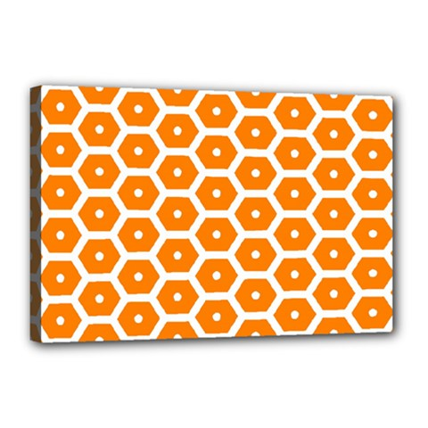 Golden Be Hive Pattern Canvas 18  X 12