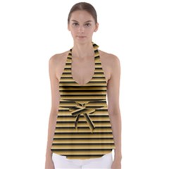 Golden Line Background Babydoll Tankini Top