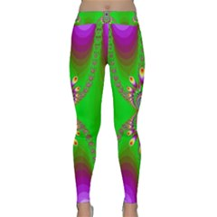 Green And Purple Fractal Classic Yoga Leggings