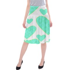 Green Heart Pattern Midi Beach Skirt by Amaryn4rt