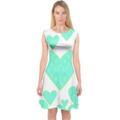 Green Heart Pattern Capsleeve Midi Dress