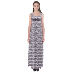 Welcome Letters Pattern Empire Waist Maxi Dress