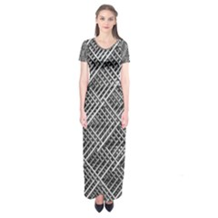 Grid Wire Mesh Stainless Rods Rods Raster Short Sleeve Maxi Dress