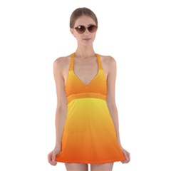 Rainbow Yellow Orange Background Halter Swimsuit Dress by Amaryn4rt