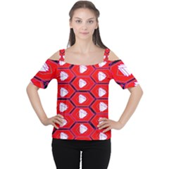 Red Bee Hive Women s Cutout Shoulder Tee