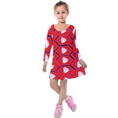 Red Bee Hive Kids  Long Sleeve Velvet Dress by Amaryn4rt