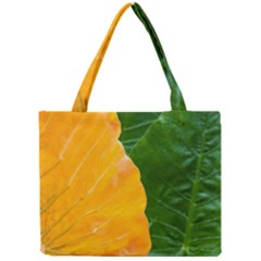 Wet Yellow And Green Leaves Abstract Pattern Mini Tote Bag by Amaryn4rt