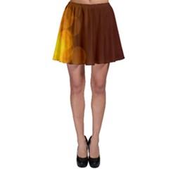 Yellow And Orange Blurred Lights Orange Gerberas Yellow Bokeh Background Skater Skirt