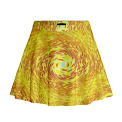 Yellow Seamless Psychedelic Pattern Mini Flare Skirt