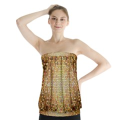Yellow And Black Stained Glass Effect Strapless Top