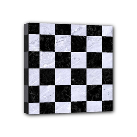 Square1 Black Marble & White Marble Mini Canvas 4  X 4  (stretched) by trendistuff