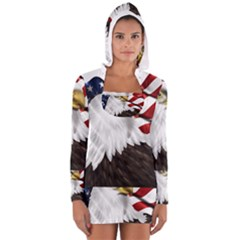 American Eagle Flag Sticker Symbol Of The Americans Women s Long Sleeve Hooded T-shirt by Onesevenart
