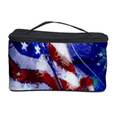 American Flag Red White Blue Fireworks Stars Independence Day Cosmetic Storage Case by Onesevenart