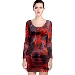 Art Space Abstract Red Line Long Sleeve Bodycon Dress by Onesevenart