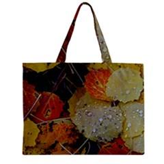 Autumn Rain Yellow Leaves Zipper Mini Tote Bag by Onesevenart