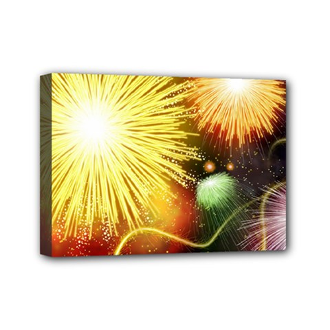 Celebration Colorful Fireworks Beautiful Mini Canvas 7  X 5  by Onesevenart