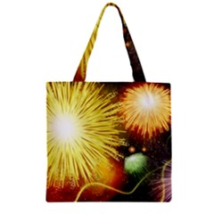 Celebration Colorful Fireworks Beautiful Zipper Grocery Tote Bag by Onesevenart