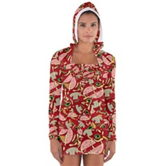 Pizza pattern Women s Long Sleeve Hooded T-shirt by Valentinaart