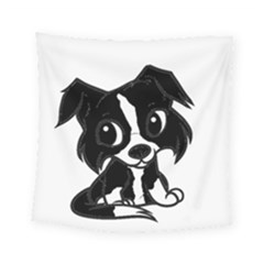 Border Collie Bw Cartoon Square Tapestry (Small)