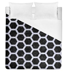 Hexagon2 Black Marble & White Marble Duvet Cover (queen Size) by trendistuff